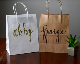 Custom Name Gift Bags | Personalized | Bridesmaid gift bag | Custom gift bag | Hand lettered | Wedding gift bag | Groomsmen gift bag