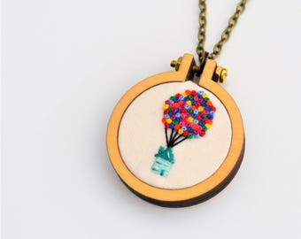 Miniature Embroidery Baloon House Necklace or Brooch Tiny 4cm Hoop Art