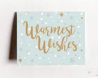 Warmest Wishes card - Holiday Greeting Card - Christmas Card - Christmas Greeting Card