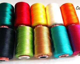 10 Spools Silk Thread For Tassels Making | Indian Silk Thread | Viscose Rayon Yarn | Beading thread | Art silk yarn | Silk thread Jewelry