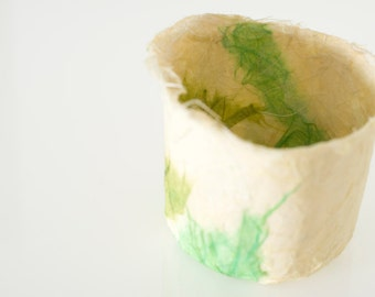 Cream Green Bowl Handmade Paper two tone cream and green decorative paper papier mache bowl original artwork