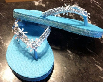 SKDesigns Frozen Snowflake Custom Flip Flops Ice Aqua Princess Shoes Sandals Crystal Flip Flops Sandals Child Size 10/11