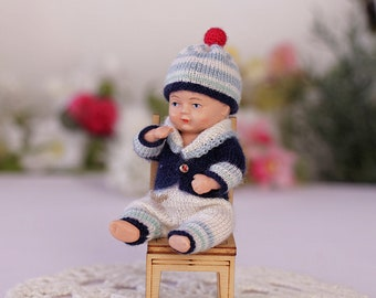 3.7-inch vintage doll-boy knitted suit nautical style Dollhouse Doll's clothes Dollhouse clothing 1:12 Vintage doll outfit Shildkrot dolls