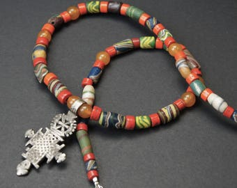 Coptic Cross and African Trade Bead Necklace