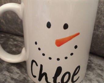 Christmas personalised snowman mug