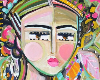 Warrior Girl PRINT, abstract faces, Maren Devine, paper or canvas, Gracie