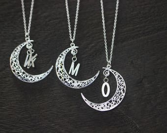 I love you to the moon and back necklace personalized necklace,initial necklace,monogram necklace Moon Jewelry gift for mom/girl C60N