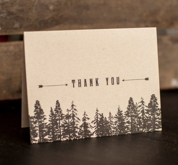 Rustic  Wedding Thank You Cards, Trees, Forest, thank you notes - woodland wedding, woods, Vintage, Antique, kraft paper