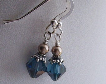 Harry Potter Inspired  Ravenclaw House Colors Earrings Swarovski and Sterling Silver