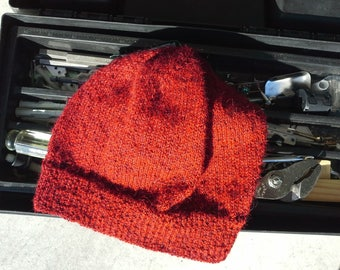 Men's Alpaca Beanie - Mens Tomato Red Wool Hat - Light Hand Knit Winter Hiking Skiing Snowboarding Gent's Hat (One Size - Ready to Ship)