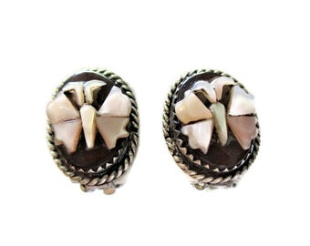 Vintage Native American Butterfly Cameo Clip on Earrings