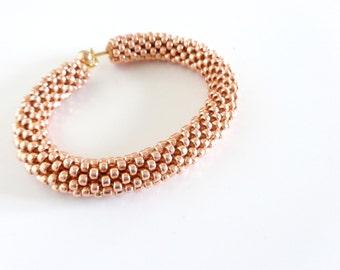Rose Gold Bracelet // Christmas Gift // Golden Cuff Bracelet // Gold Bracelet // Beaded Rope bracelet // Gift fo her // Crocheted Jewelry