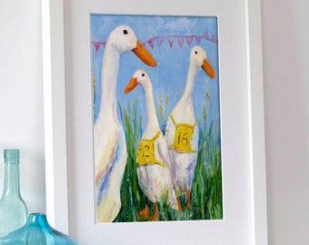 Duck Print, Runner Duck Art Print, Home Wall Decor, Runner Duck Fine Art Print