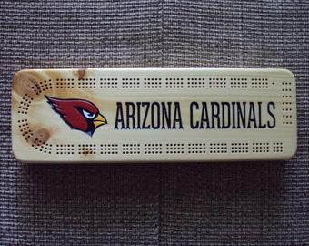 Rustic Cribbage Board - Arizona Cardinals - Football Furniture Log Cabin Lodge Deer Camp Man Cave