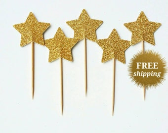 Gold Glitter Star Cupcake Toppers Gold Cupcake Star Party Picks Glitter Toppers