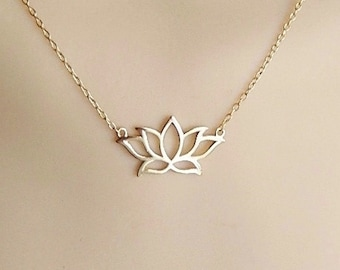gold  lotus necklace, gold plated over sterling silver necklace, vermeil necklace,yoga necklace, lotus flower necklace, spiritual necklace