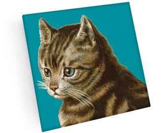 Set of 4 Tabby Kitten Coasters