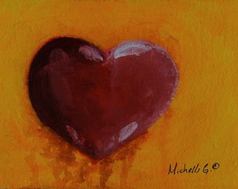 Anniversary Gift, Original Painting, Red Heart, Orange, Gift For Her, Gift For Wife, Gift for Husband, Gift For 25, Valentine, Kitchen Art