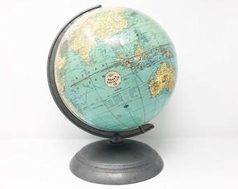 Retro Mid Century School World Globe -  Weber Costello - Circa 1949 - See the World - Travel Gift - Round Base - Machine Age Design