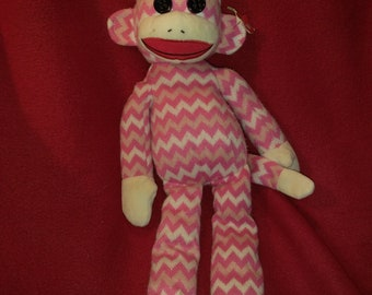 Pink Sock Puppy - Socks the Sock Monkey - 15 inches tall