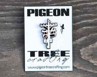 Pigeon Tree Crafting Pin- White and Black Nickel