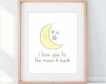 I Love You to the Moon and Back, Nursery Art Print, I Love You, Nursery Moon Art, Moon Art Print, Moon and Stars, Yellow Nursery Art