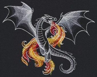 Beautiful Dragon Embroidered Flour Sack Hand/Dish Towel