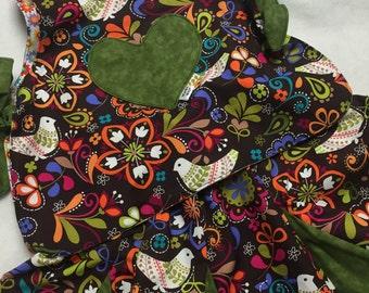 Reversible Brown floral and birds skirts sets 1-4 year//reversible skit sets//brown skirt set//birds skits//toddler skirt set//cotton kids