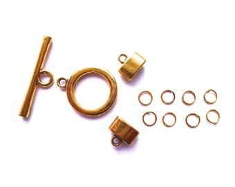Fermoir de métal doré pour lacet de cuir rond de 2 ou 3 mms