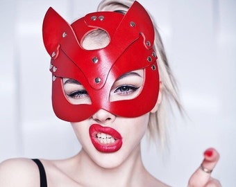 Leather cat mask, kitten mask, halloween cat mask, catwoman mask