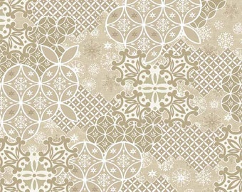 Cream beige patchwork with arabesque - Fat quarters fabric coupons Noël Scandinavian - Makower 100% cotton quilt fabric