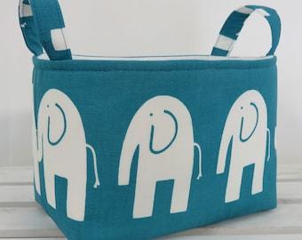 Storage and Organization Fabric Organizer Bin Container Basket - Ele Elephant - White on Turquoise - Nursery Decor - Baby Room Decor