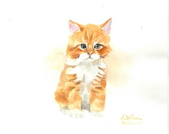 "Original watercolor,cat painting,orange cat,original painting,8""x8"",home decor"