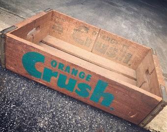 Very Rare Vintage 1960's Bottle Cap Orange Crush Wood Soda Pop Crate