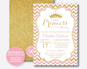 Princess Baby Shower Invitation A Little Princess Is On Her