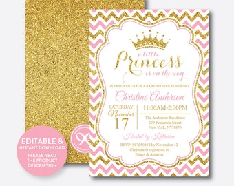 Instant Download, Editable Princess Baby Shower Invitation, Princess  Invitation, Girl Baby Shower,