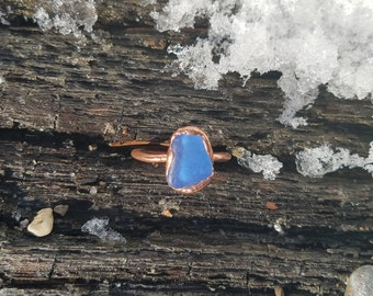 Blue Beach Glass and Electroformed Copper Ring Size 7.25