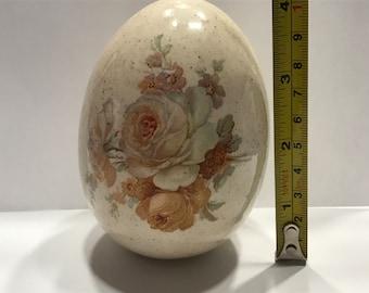 LARGE Vintage Porcelain Egg, 3 x 4 inch (A1)