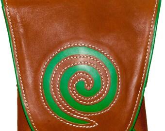 SPIRAL | Green & Brown Leather Handbag | Womens Handbag | Top-Grain Leather Bag | Spiral Leather Pouch | Crossbody Handbag | Shoulder Bag