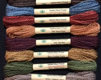 """Floss & Threads: Wool Floss by Valdani Set/12 """"Primitive Art""""  Size 8 - Hand Dyed Colorfast"""