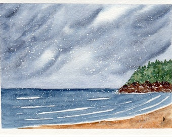 Original watercolor painting  SFA greeting card snow at the BEACH