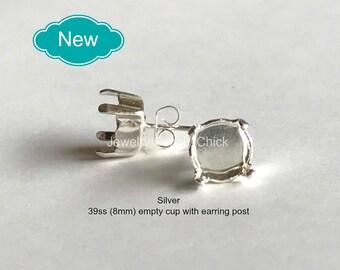 39ss (8.5mm) Silver empty cup post earrings