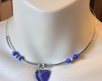Vintage blue cats eye glass beads heart wrap around collar necklace .
