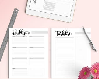 iPad PRO - Goal tracker pack (5 pages) - Letter size - Printable planner - for procreateapp