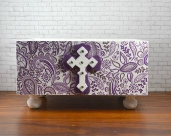 Purple paisley design applied with decoupage technique, lightweight bin, index cards or anywhere you need an attractive storage solution
