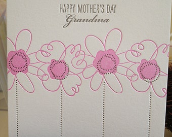 Mother's Day for Grandma Card - Grandma for Mother's Day Letterpress card - card for Grandmother