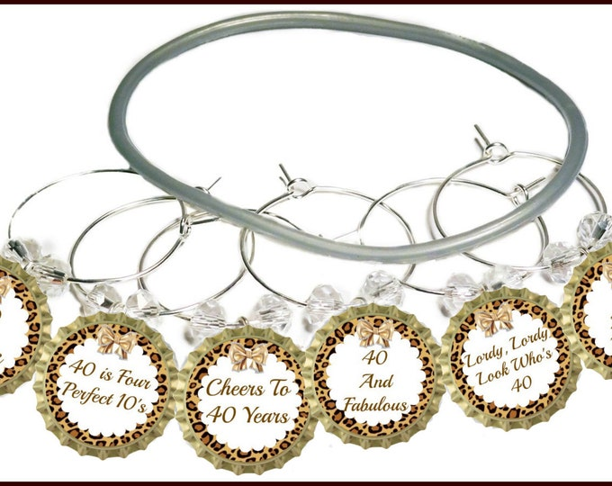40th Birthday Bottle Cap Wine Charms - Pack of 8