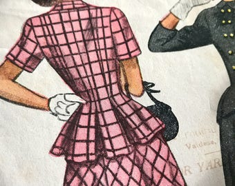 Gorgeous Back Peplum Double Breasted Jacket and Flared Skirt Pattern---Simplicity 2310---Size 12  Bust 30  UNCUT