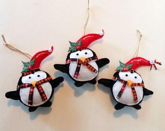 Christmas Ornaments, Penguin Ornaments,Set of 3,Christmas Ornament, Stuffed Felt Ornaments,Penguins,Penguins,Christmas Décor CTO134