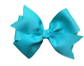 Turquoise hair bow - turquoise bow, hair bows, girls hair bows, toddler hair bows, baby bows, girls bows, big hair bows, 4 inch hair bows